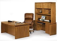 Oak Desk, Matching Hutch & Credenza, and Executive Leather Chair