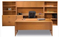 Tahoe Desk, Matching Hutch & Credenza, File Cabinet, Bookcases,  and Ergonomic Chair
