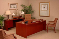 Victory Desk, Matching Hutch, Executive High Back Chair, and Fabric Guest Chairs