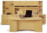 Vista Desk, Matching Hutch & Credenza, File Cabinet, Bookcases, and Executive High Back Leather Chair