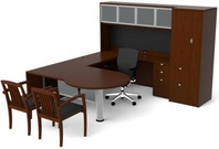 Mahogany Finish Desk with Matching Hutch, Credenza, & Storage Unit