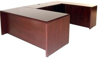 Mahogany Finish U-Shape Desk