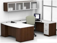 Mocha Finish Desk with White Top & Matching Storage Unit
