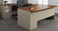 Honey Laminate Top, Nevada Steel Chassis U-Shaped Desk