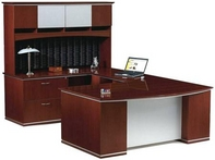 Yorkshire Cherry Desk with Hi-gloss Top, Metal Laminate Modesty Panel, and Matching Hutch & Credenza