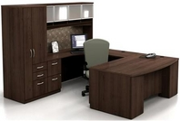 Walnut Finish Desk with Matching Hutch, Credenza, & Storage Unit