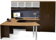 Tuscan Walnut Desk with Butternut Top, Matching Hutch, Credenza, & Storage Unit
