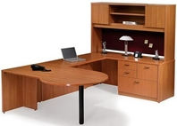 Cherry Finish Desk with P-Top and Matching Hutch & Credenza