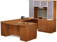 Oil Cherry Finish Desk with Matching Hutch & Credenza with Glass Doors