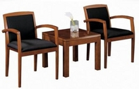 Black Fabric Chair Set w/ Walnut Frame & Matching Table