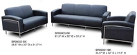 Black Leather Sofa Set w/ Stainless Frame
