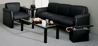 Black Leather Chair & Sofa