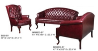 Traditional, Burgundy Leather Sofa Set w/ Nailheads