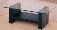Bonded Black Leather Contemporary Coffee Table w/ Glass Top