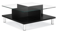 Contemporary Black Coffee Table w/ Glass Top
