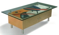 Multi-Enamel Contemporary Coffee Table w/ Glass Top
