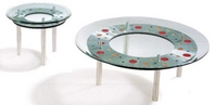Multi-Enamel Contemporary Coffee & End Tables w/ Glass Top