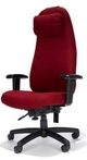 Big&Tall Swivel, Executive Hi-Back, Red Fabric Chair w/ Head Pillow