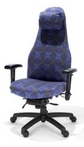 Executive Ergonomic Blue & Gold Pattern Fabric Chair