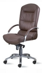 Executive Hi-Back, Chrome, Brown Leather Chair