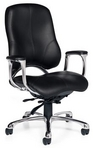 Ergonomic Black Leather Chair w/ Chrome Frame