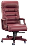 Executive Contemporary, Hi-Back, Mahogany Frame, Burgundy Leather Chair