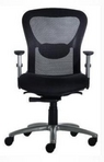 Ergonomic Black Mesh Chair w/ Black Upholstered Seat & Lumbar Support