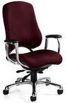 Ergonomic Burgundy Fabric Chair w/ Chrome Frame