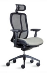 Ergonomic Black Mesh Chair w/ Beige Fabric Upholstered Seat