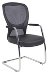 Guest Chair, Chrome Frame, Black Mesh, Mid-Back