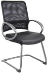 Guest Chair, Black Mesh w/ Leather Upholstered Seat & Pewter-Finish Frame