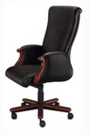 Executive Hi-Back, Mahogany Frame, Black Leather Chair